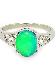 cheap -classic silver color plating multi color change oval crystal stone emotion feeling mood ring
