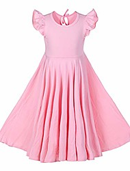 cheap -girls ruffles dress pink color fly sleeve twirly skater party dress (pink, 10 years)