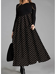 cheap -Women's Swing Dress Maxi long Dress - Long Sleeve Polka Dot Striped Print Patchwork Print Spring Fall V Neck Elegant Casual Going out Loose 2020 Black M L XL XXL 3XL