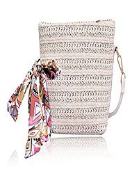 cheap -straw bags for women natural chic casual woven shoulder bags boho bali crossbody handbag (white)
