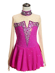 cheap -Figure Skating Dress Women's Girls' Ice Skating Dress Rose Red Spandex High Elasticity Competition Skating Wear Patchwork Crystal / Rhinestone Long Sleeve Ice Skating Figure Skating / Kids