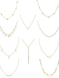 cheap -10pcs layered chocker necklace for women girls multilayer chain necklace set adjustable (10pcs[gold tone])