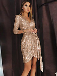 cheap -Women's Sheath Dress Knee Length Dress 3/4 Length Sleeve Solid Color Sequins Fall Winter Casual 2021 Gold S M L XL XXL