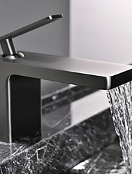 cheap -Single Handle Bathroom Faucet, Chrome/Black/Brushed Glod/Grey One Hole Waterfall/Centerset Bathroom Sink Faucet, Brass Bathroom Sink Faucet
