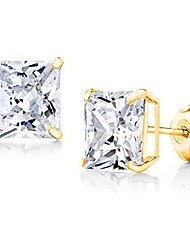 cheap -14k gold 3mm-8mm square basket setting cz stud earrings - available in white, yellow, or rose (yellow, 4)