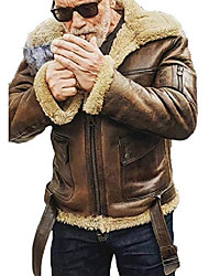 cheap -men's fur leather jacket motorcycle shearling suede stand collar vintage coat