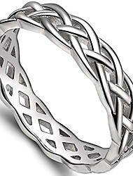 cheap -4mm stainless steel celtic knot eternity wedding engagement band ring (silver, 10)