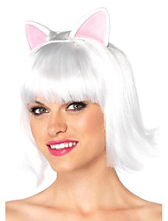 cheap -costumes kitty kat bob wig with attached ears w adjustable elastic strap, white, one size