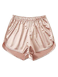 cheap -women's elastic waist satin dolphin shorts pink m