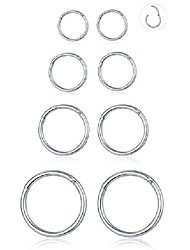 cheap -8pcs 16g stainles steel septum clicker ring seamless lip nose daith cartilage helix tragus hoop ring 6mm-8mm-10mm-12mm (d1:4 pairs,16g(1.2mm) pin thickness)