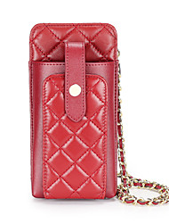cheap -Women's Bags Faux Leather Mobile Phone Bag Chain Embossed Plain 2020 Daily Wine Black Blushing Pink