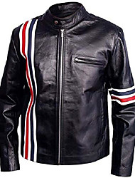 cheap -easy rider peter fonda american star biker black leather jacket with usa flag (medium (best for chest size 40)