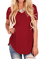 cheap -women's casual cotton t-shirt v-neck short sleeve solid tees wine red 2xl