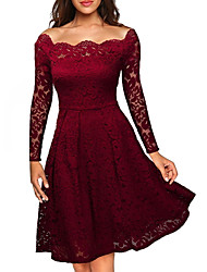 cheap -Women's A Line Dress Knee Length Dress White Black Purple Wine Dusty Blue Long Sleeve Solid Color Lace Spring Off Shoulder Sexy 2021 S M L XL XXL
