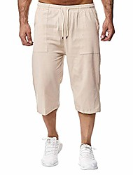 cheap -men's capri shorts 3/4 loose fit below knee cargo short pants casual wide leg bermuda shorts with pockets