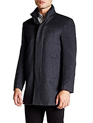 cheap -men's single breasted overcoat luxury wool/cashmere frank top coat - charcoal - 50 long
