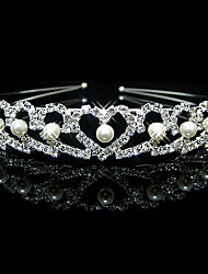 cheap -Women's Girls' Hair Combs Hair Jewelry For Christmas Wedding Halloween Party Evening Wedding Heart Classic Imitation Pearl Rhinestone Silver Plated Silver 1pc