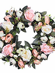 "cheap -14"" pink white fake flower wreath cherry blossom flowers artificial silk peonies rose vine garland green wreath for vintage front door home kitchen wall decor"