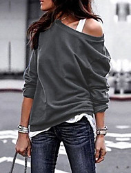 cheap -Women's Blouse Plain Long Sleeve Round Neck Tops Loose Basic Basic Top Black Wine Army Green