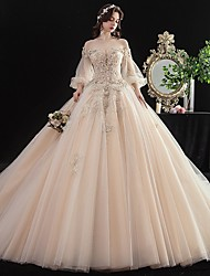 cheap -Ball Gown Wedding Dresses Off Shoulder Chapel Train Tulle 3/4 Length Sleeve Formal Romantic Elegant with Beading Appliques 2020