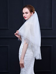 cheap -Two-tier Special Design / Basic Wedding Veil Fingertip Veils with Solid 35.43 in (90cm) Tulle