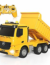 cheap -remote control dump truck 4wd 8 channel full function construction toy vehicle machine model with lights and sounds, 1/20 scale rechargeable rc truck for kids, gifts for boys girls
