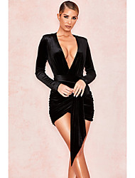 cheap -A-Line Sexy bodycon Homecoming Party Wear Dress V Neck Long Sleeve Short / Mini Sequined with Sequin 2021