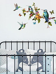 cheap -Hand Painted Color Butterfly Branch Bird Wall Sticker Living Room Tv Background Wall Personalized Decoration Wall Sticker 50*70 CM