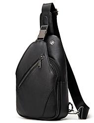 cheap -Men's Bags Cowhide Sling Shoulder Bag Chest Bag Zipper Daily Going out Black