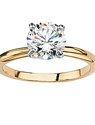 cheap -18k yellow gold plated round cubic zirconia solitaire engagement ring size 6