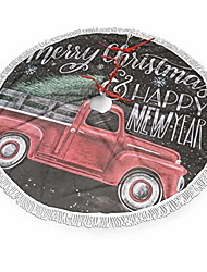 cheap -vintage retro old christmas red truck farm rustic 30 36 48 inch christmas tassels lace tree skirt carpet mat rugs cover themed round pad xmas holiday party ornament decoration big large small