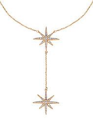 cheap -14k yellow gold plated cubic zirconia round cut starburst 18 inches pendant chain necklace for women & girls