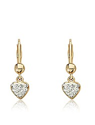 "cheap -""heart of jewels"" 14k gold-plated white enamel and clear crystals heart dangle leverback earrings"
