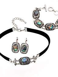 cheap -Women's Jewelry Set Vintage Style Joy Happy Lucky Asian Unique Design Vintage Ethnic Fashion Shell Earrings Jewelry Silver For Christmas Anniversary Party Evening Prom Festival 4pcs