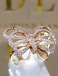 cheap -Ring AAA Cubic Zirconia Rose Gold Silver 18K Gold Plated Butterfly Stylish Unique Design Gothic 1pc 5 7 8 9 10 / Women's / Party / Wedding / Gift / Daily