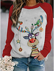 cheap -Women's Christmas Tunic Cat Cartoon Deer Long Sleeve Print Round Neck Tops Cotton Basic Christmas Basic Top Black Purple Red