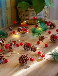 cheap -2M 20LEDs Pine Cone Pearl Fruit LED String Lights Battery Operated Fairy Lights Christmas Home Garden Decoration Light
