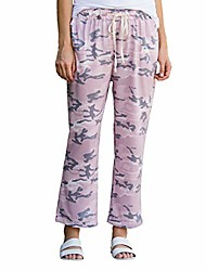 cheap -apparel women's pink camo elastic waist breathable linen blend pants | 100% cotton