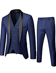 cheap -Men's Slim Fit Suits Tuxedo standard-fit shawl collar single-breasted one-key solid color