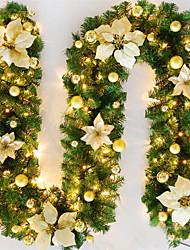 cheap -2.7M Christmas Rattan Garland Decorative Green Christmas Garland Artificial Xmas Tree Rattan Banner Decoration