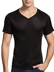 cheap -men's 100% pure silk knitted t-shirt undershirts slim casual tee tops black