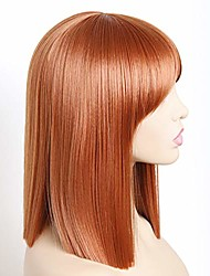 cheap -bob straight wigs synthetic short orange wig with bangs natural looking heat resistant fiber hair for women (orange)