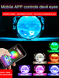 cheap -RGB 2/4 pcs Daytime Running Headlight Lamp Car Angel Eyes Demon Eye Led Halo Ring Headlight DRL Smartphone App-enabled  Conversion