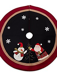 "cheap -48"" christmas tree skirt with santa, burlap rustic xmas tree decorations skirts holiday ornaments,sonwman black with double edges"