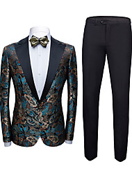 cheap -Tuxedos Standard Fit Shawl Collar Single Breasted One-button Polyester Geometric Pattern