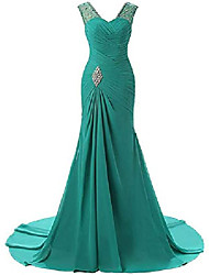 cheap -bridal long mermaid bridesmaid dresses 2019 formal evening gown size 12 green