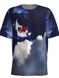 cheap -Men's T shirt 3D Print Galaxy Graphic 3D Print Short Sleeve Christmas Tops Round Neck Dusty Blue