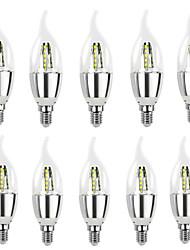 cheap -10pcs High Bright Lampara Led E14 Candle LED Bulb 5W 7W LED Light Lamp 220V Silver Cool White Ampoule