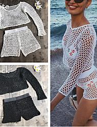 cheap -women bikini mesh knitted swimsuit bottom pants beach swimwear short (l, black(top))
