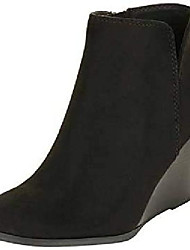 cheap -womens wedge platform ankle boots stacked high heel pointed toe slip on elastic booties